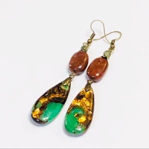 Bold Mahogany Obsidian & Jadeite Bornite Earrings